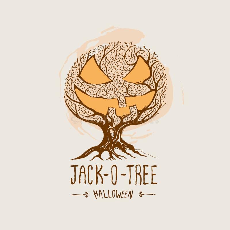 Jack-O-Árvore - vetor de Halloween ilustração stock