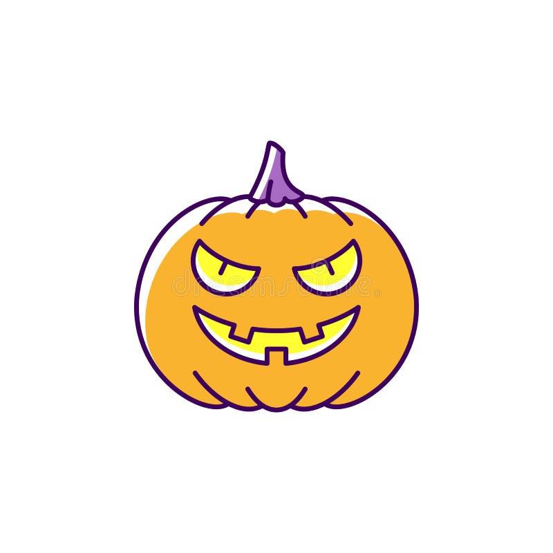 Jack O ` ikony Halloween Latarniowa bania Kolorowa płaska Halloweenowa ikona, Cienki kreskowej sztuki projekt, Wektorowa ilustrac ilustracji