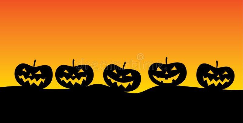 Jack o ` lantaarn in een somber landschap typisch voor de periode van Halloween vector illustratie