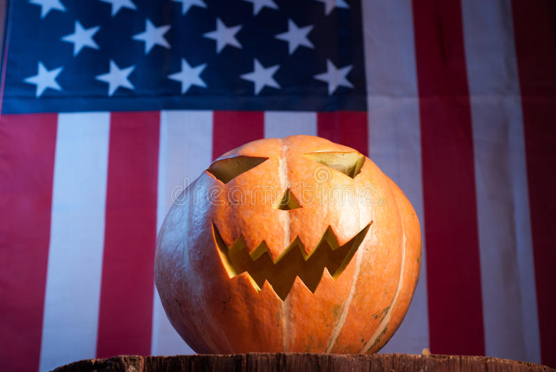 Jack-o '- lantern on an American flag background,. Happy holidays, Jack-o ' - lantern-patriot stock image