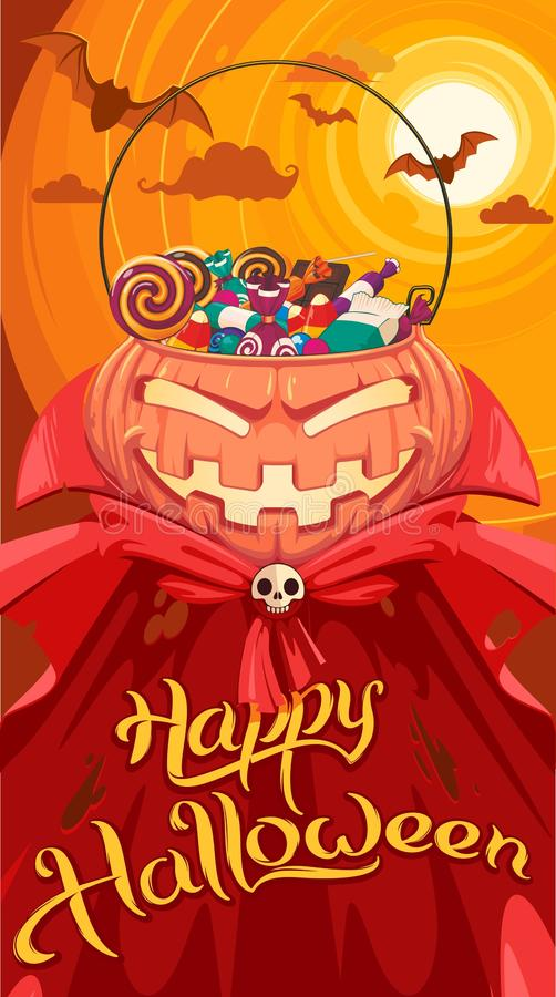 Jack O` Lantern. With candys in a red coat for Halloween royalty free illustration