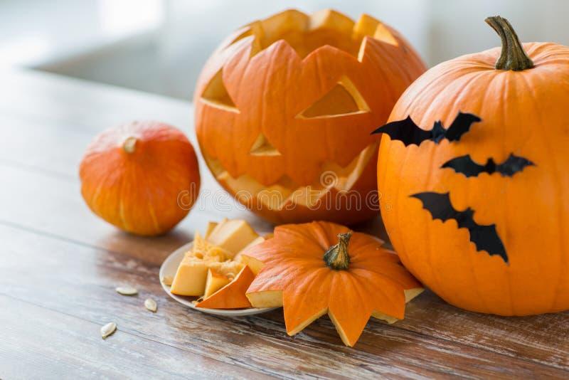 Jack-o-lantern or carved halloween pumpkins royalty free stock image