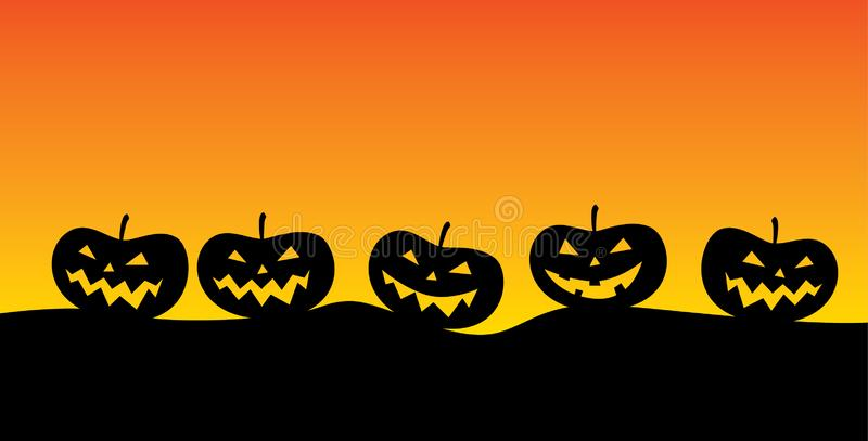 Jack o `lantern in a dismal landscape typical for the period of halloween royalty free illustration