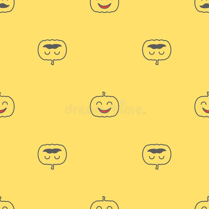 Jack o lantern elements seamless background. Halloween tileable pattern. royalty free illustration