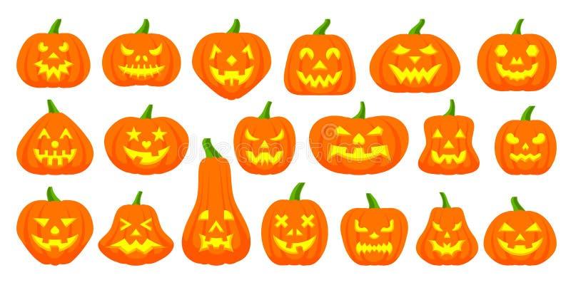 Jack O Lantern simple flat color icons vector set royalty free illustration