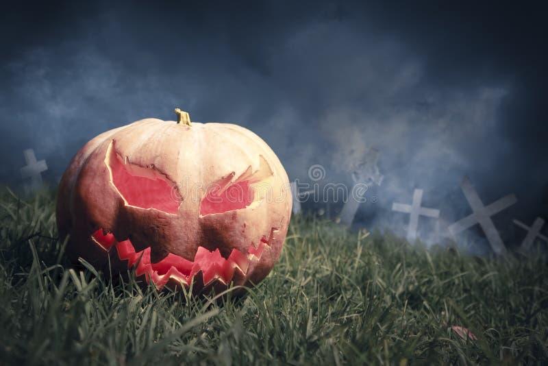 Download Jack-o-lantern In A Graveyard At Night Stock Photo - Image: 16388744