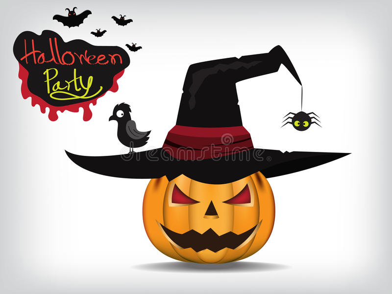 Jack-O-Lantern. Halloween pumpkin with black witches hat. Vector stock illustration