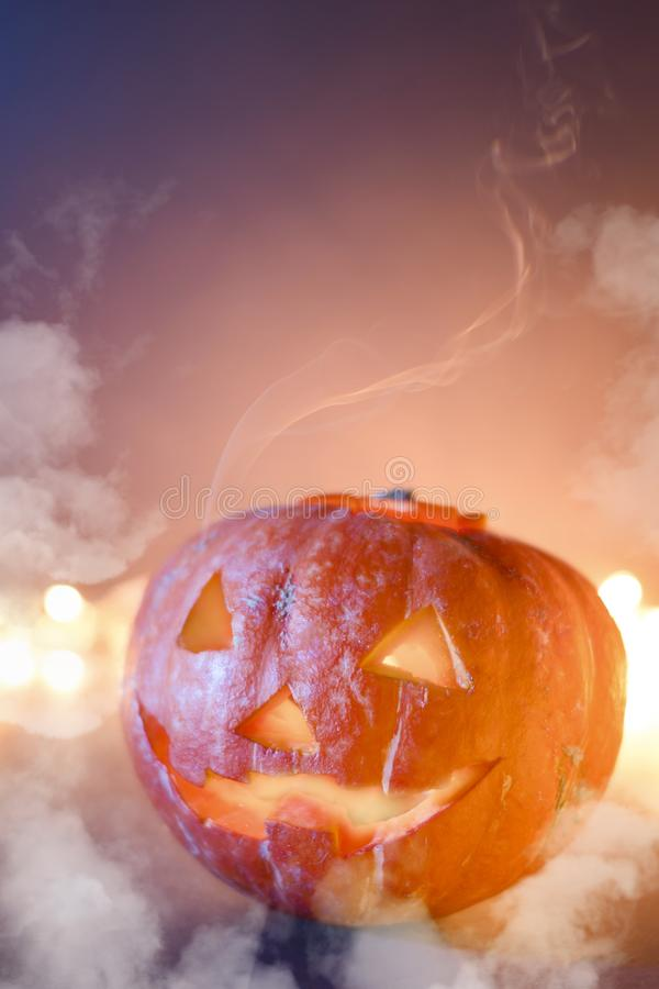 Jack O Lantern Halloween pumpkins, burning candles. Symbol of halloween stock image