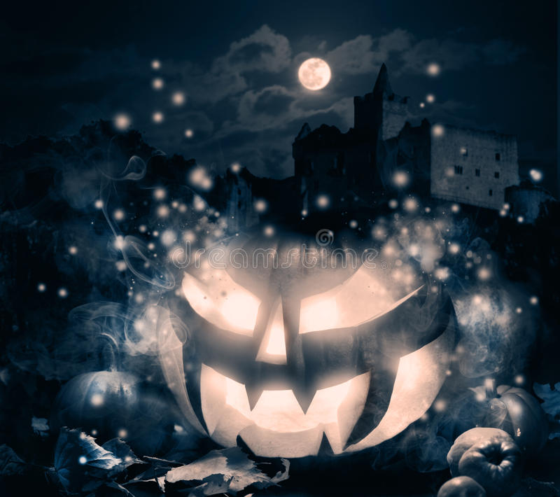 Jack O'Lantern la nuit de Halloween image libre de droits