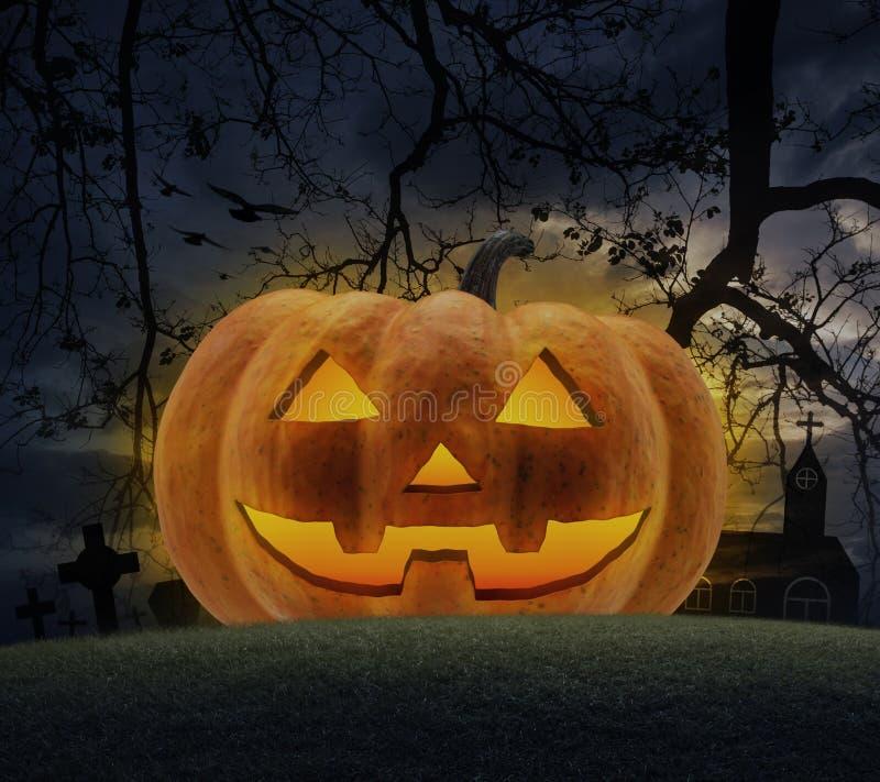 Jack O Lantern pumpkin, grass, dead tree, cross, birds with church over cloudy sky stock photo