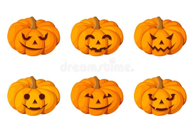 Jack-O-Lantern. Set Of Six Halloween Pumpkins. Stock Vector ...
