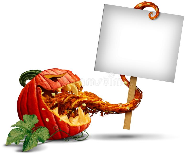 Jack-O-Lantern-Sign as halloween promotional blank signage. Jack o lantern evil pumpkin zombie holding a blank sign card with a tongue as a creepy halloween or vector illustration