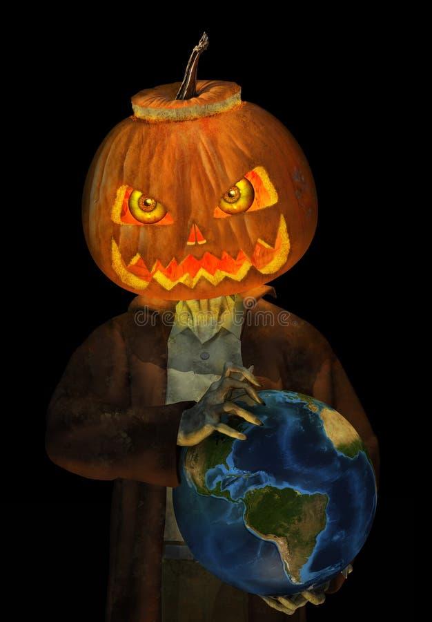 Jack O Lantern Zombie Rules the World vector illustration