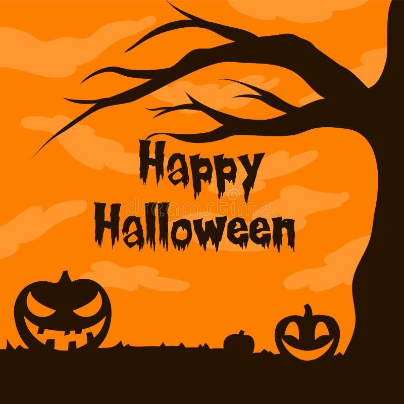 Jack o lanterna acima da ilustração do vetor da silhueta da árvore com luz lua para faixa de halloween também pode ser usada para ilustração royalty free