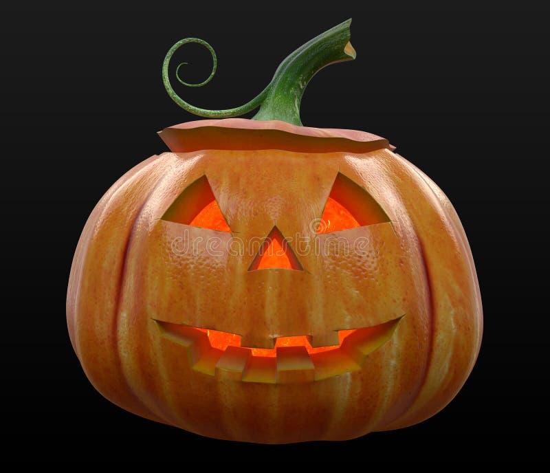 Jack-o-lanterna da abóbora de Dia das Bruxas iluminada fotografia de stock