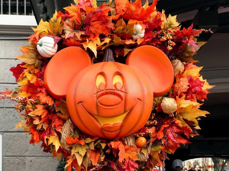Jack-O-lanterna no reino mágico, Walt Disney World de Mickey Mouse fotografia de stock