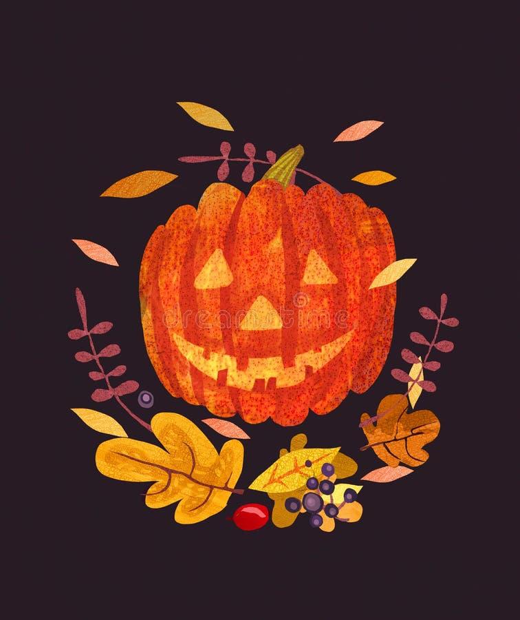 Jack-O-lanterne et feuilles abstraites de Halloween image libre de droits