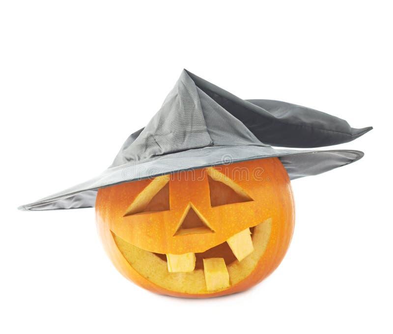 Jack-o'-lanterns κολοκύθα σε ένα καπέλο στοκ φωτογραφίες