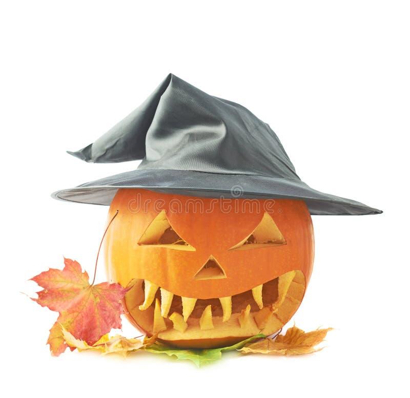 Jack-o'-lanterns κολοκύθα σε ένα καπέλο στοκ εικόνες