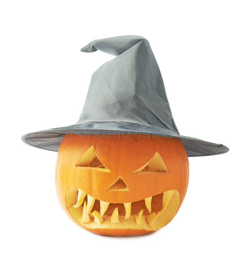 Jack-o'-lanterns κολοκύθα σε ένα καπέλο στοκ εικόνα με δικαίωμα ελεύθερης χρήσης