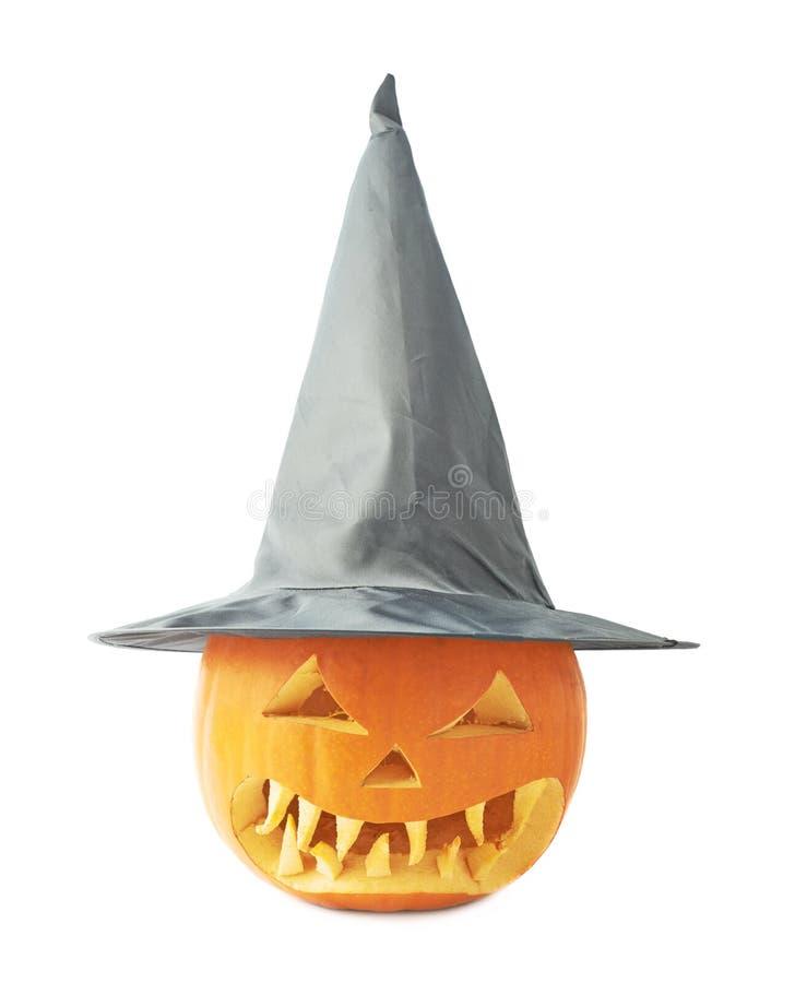 Jack-o'-lanterns κολοκύθα σε ένα καπέλο στοκ φωτογραφία