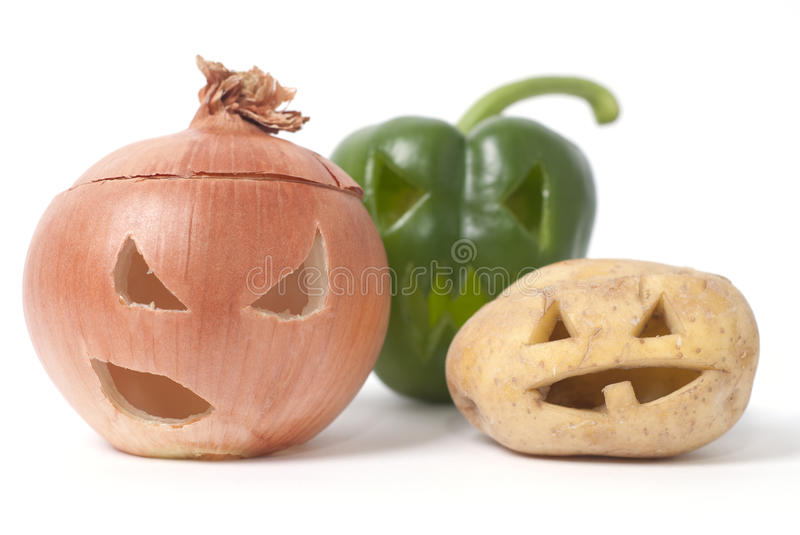 Download Jack-o-Lanterns Made Out Of Fruit And Vegetables Stock Photo - Image of glowing, object: 27237022