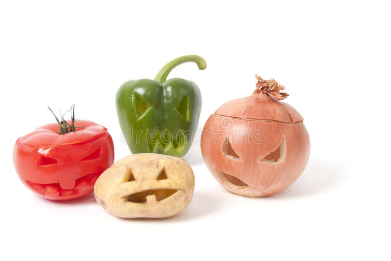 Download Jack-o-Lanterns Made Out Of Fruit And Vegetables Stock Image - Image: 27237235