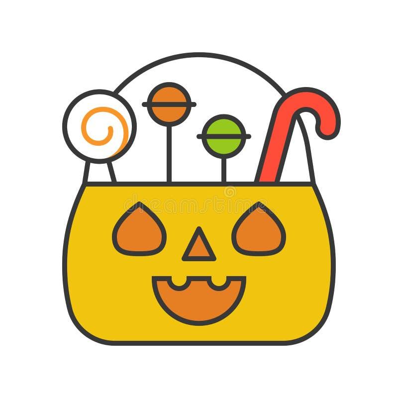 Jack o latarniowy wiadro, Halloween odnosić sie, wypełniający kontur ikony ed ilustracji