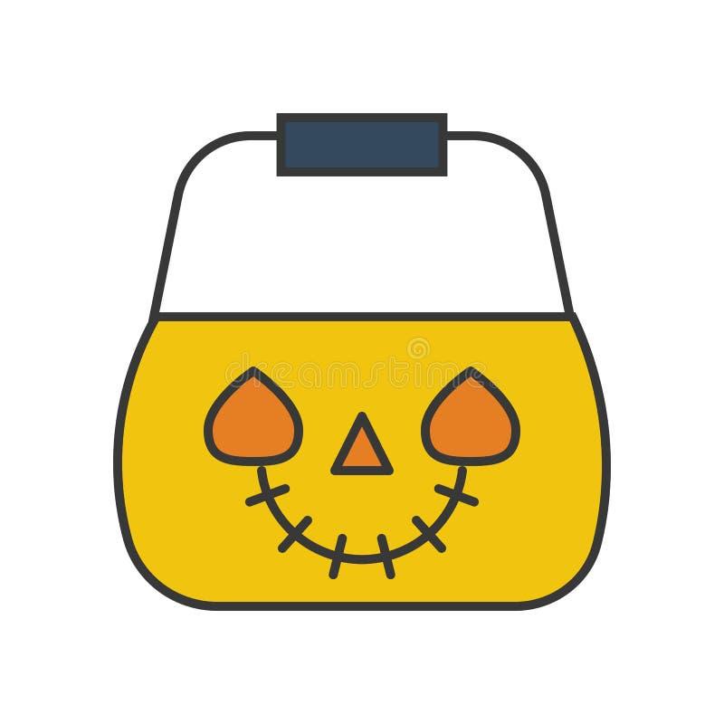 Jack o latarniowy wiadro, Halloween odnosić sie, wypełniający kontur ikony ed ilustracja wektor