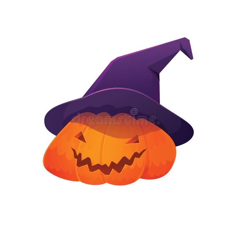 Jack-'O-Laternen-Kürbis-tragender Hexen-Hut stock abbildung