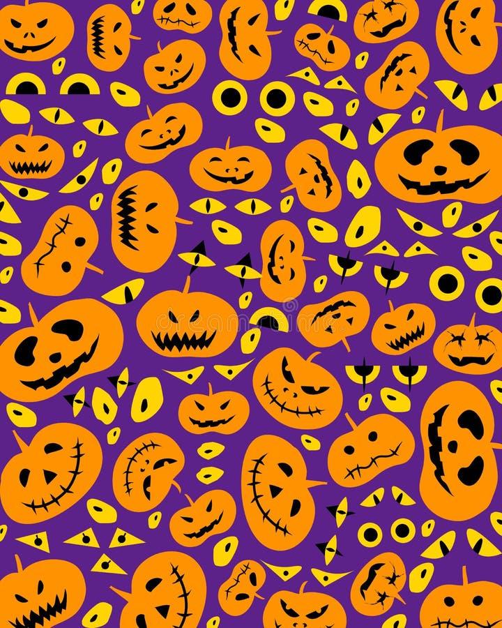 Jack-O-Laternen-schlechte Kürbise auf Halloween-Purpur-Hintergrund lizenzfreie abbildung