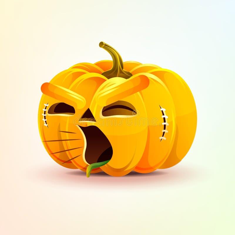Jack-o-linterna, calabaza terrible de la expresión facial, gritando la emoción sonriente del grito, emoji, etiqueta engomada para stock de ilustración