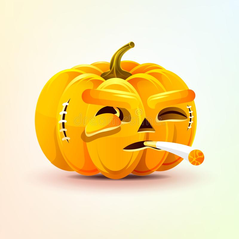 Jack-o-linterna, expresión facial terrible de la calabaza stock de ilustración