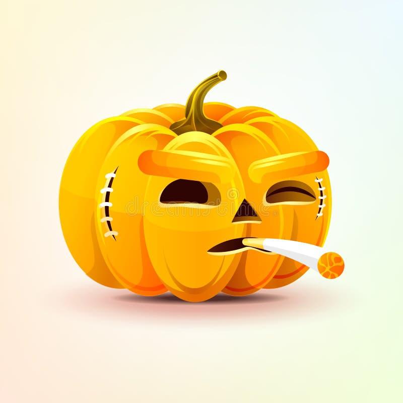 Jack-o-linterna, expresión facial terrible de la emoción del cigarrillo de la calabaza que fuma, etiqueta engomada del emoji para ilustración del vector