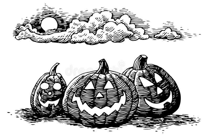 Jack-O-linternas a mano de Halloween ilustración del vector