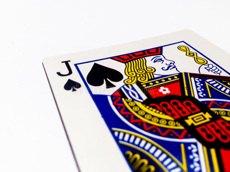 Jack Pikes / Spades Card with White Background. A playing card is a piece of specially prepared heavy paper, thin cardboard, plastic-coated paper, cotton-paper stock image