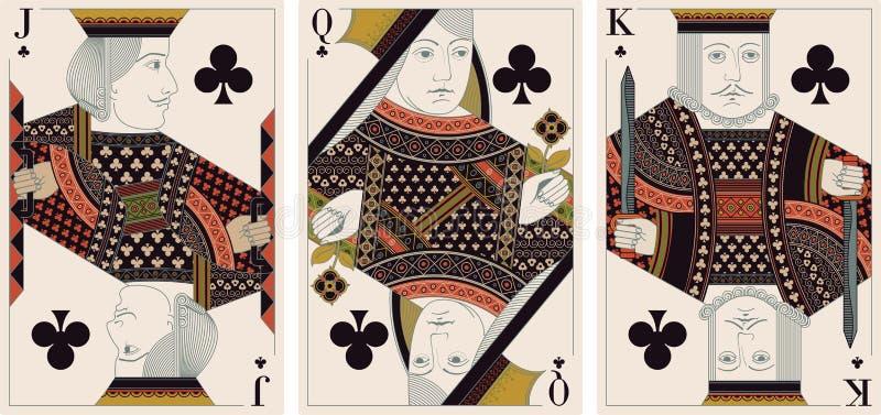 Jack, re, regina del vettore dei randelli illustrazione di stock