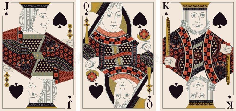 Jack, re, regina del vettore delle forcelle illustrazione di stock
