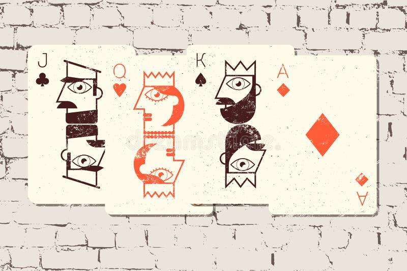 Jack, reina, rey y Ace Naipes estilizados en estilo del grunge en el fondo de la pared de ladrillo Ilustración del vector libre illustration