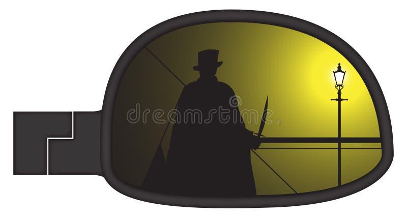 Jack The Ripper In Smashed-Auto Zijspiegel stock illustratie