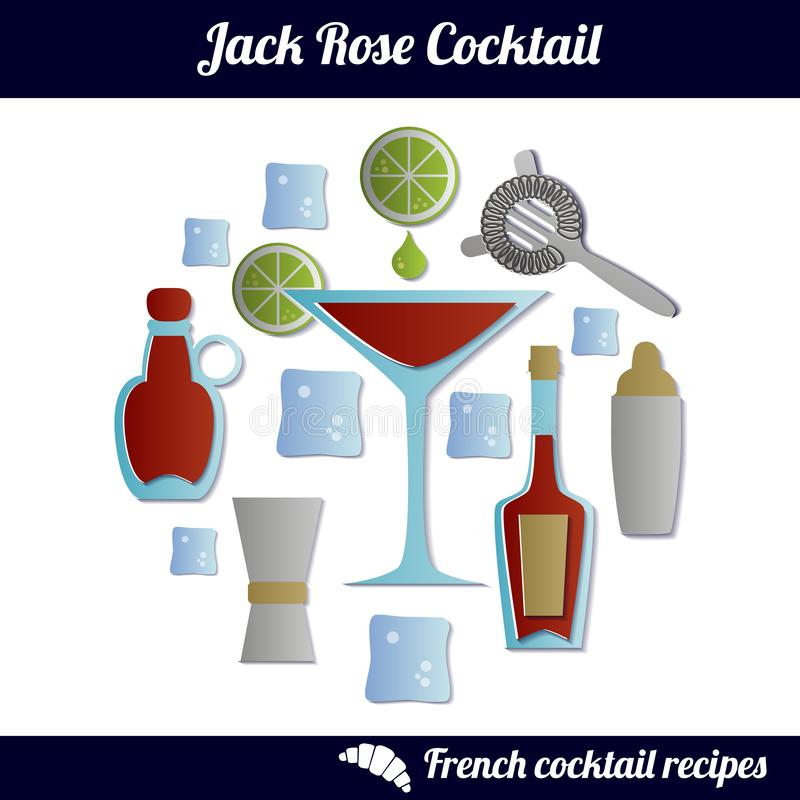 Jack Rose cocktail. Infographic set of isolated elements on white background. Paper cut style stock illustration