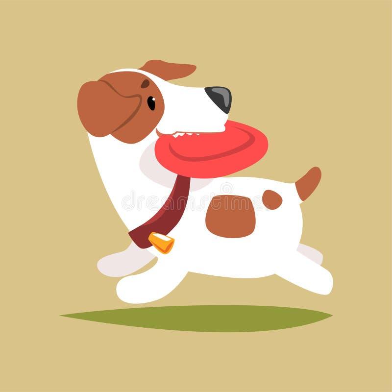 Jack Russell puppykarakter het spelen met schijf, leuke grappige terriër vectorillustratie stock illustratie