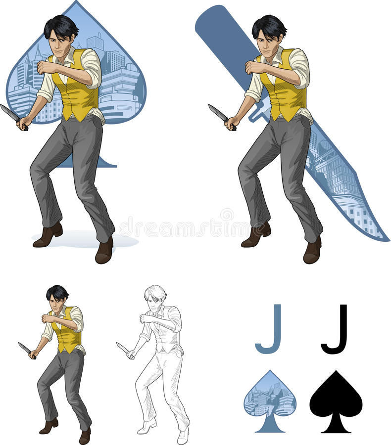 Jack of spades asian brawling man Mafia card set. Jack of spades asian brawling man retro styled comics card character set of illustrations with black lineart vector illustration