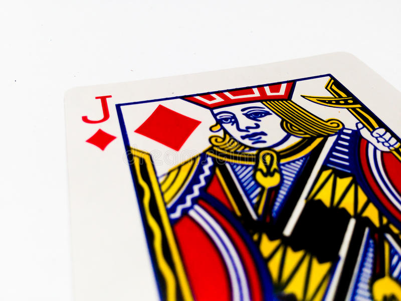 Jack Tiles / Diamonds Card with White Background. A playing card is a piece of specially prepared heavy paper, thin cardboard, plastic-coated paper, cotton-paper royalty free stock photography