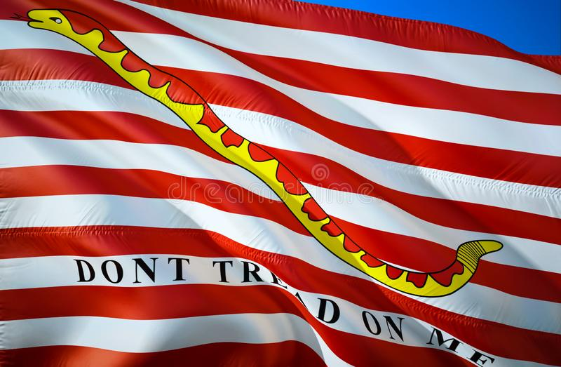 Jack of the United States flag. DONT TREAD ON ME. The national symbol of USA Maritime, 3D rendering. USA Maritime 3D Waving sign stock illustration