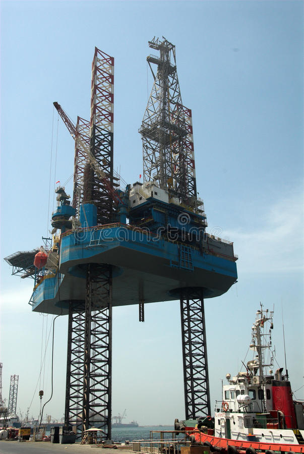Jack up oil rig in UAE royalty free stock photo