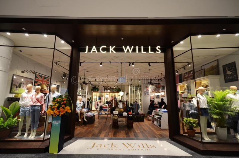 Jack Wills shop front located inside the Jewal Changi Airport in Singapore. SINGAPORE, 11 Apr, 2019: Jack Wills shop front located inside the Jewal Changi royalty free stock photos