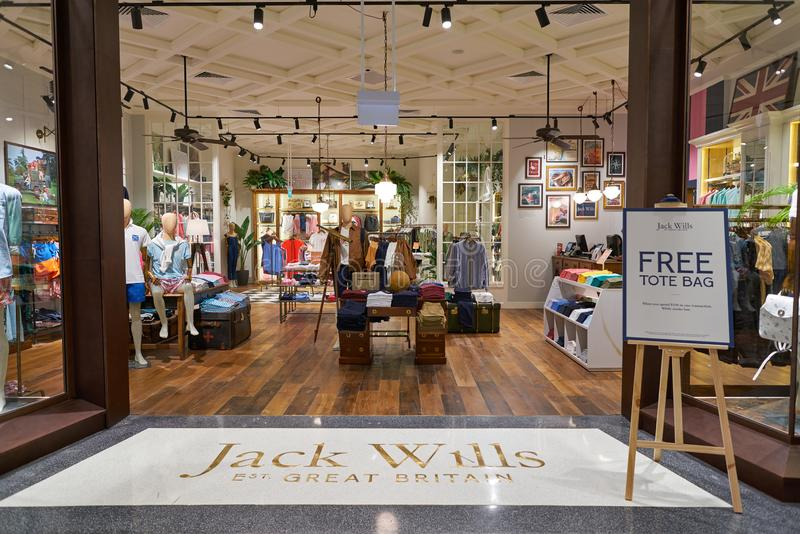 Jack Wills. SINGAPORE - CIRCA APRIL, 2019: entrance to Jack Wills store in Jewel Changi Airport royalty free stock photography
