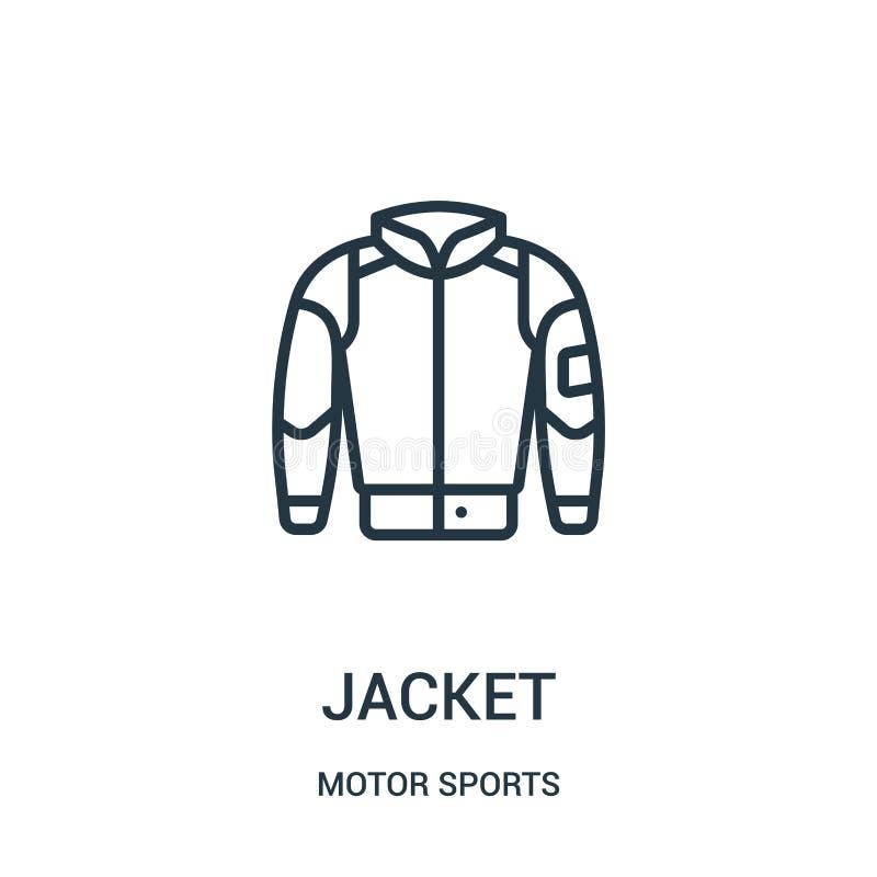 Jackenikonenvektor von der Motorsportsammlung D?nne Linie Jackenentwurfsikonen-Vektorillustration Lineares Symbol stock abbildung