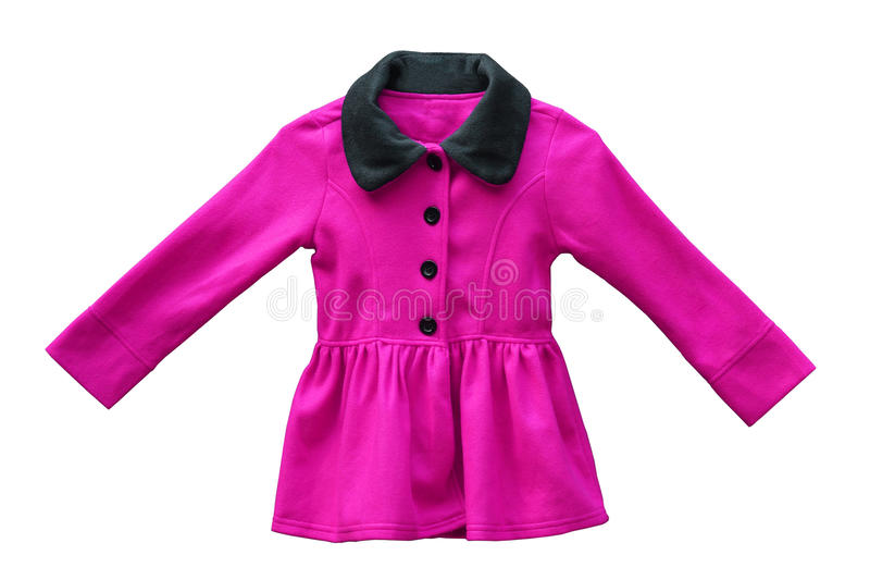 Jacket for female kid. In pink color isolated stock images